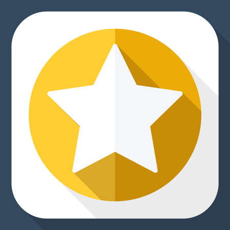 accreditation: Golden star icon with long shadow