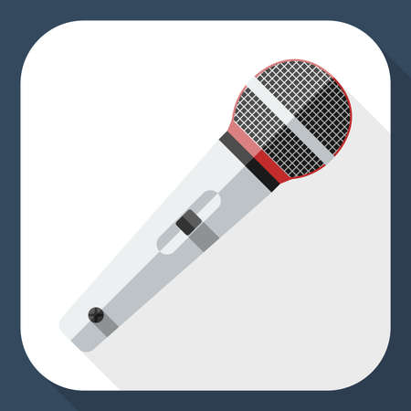 scenical: Microphone flat icon with long shadow