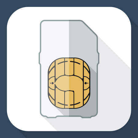 long shadow: Mini sim card icon with long shadow