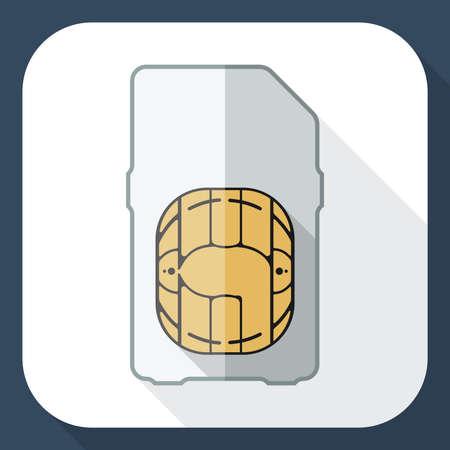 sim card: Mini sim card icon with long shadow