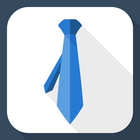 blue tie: Necktie icon with long shadow
