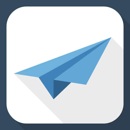 paper airplane: Paper airplane icon with long shadow