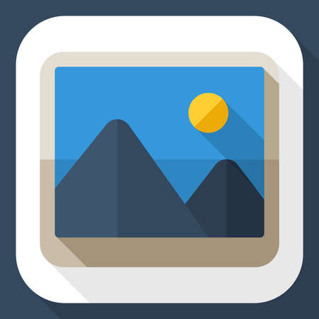 long shadow: Photograph icon with long shadow