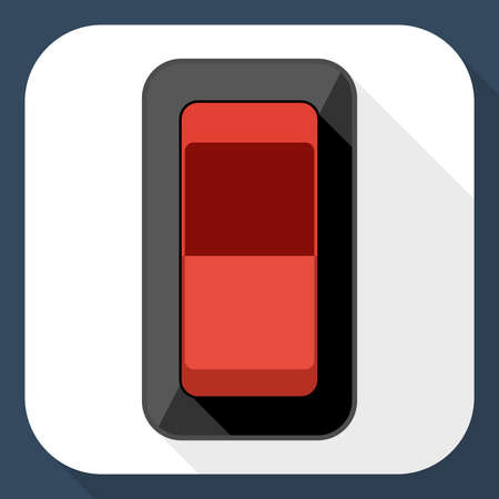 Power switch flat icon with long shadow