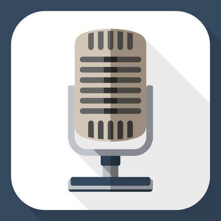 scenical: Retro microphone flat icon with long shadow