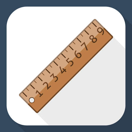 long shadow: Ruler icon with long shadow
