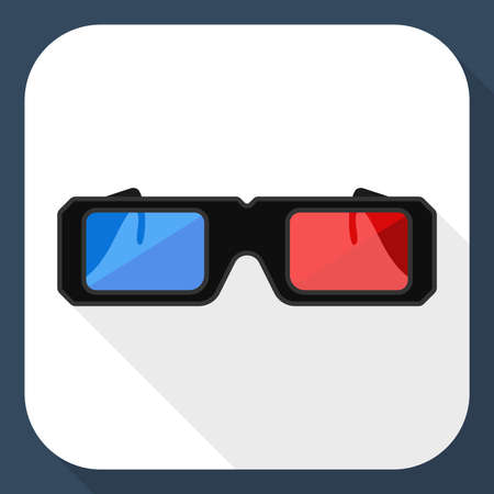 3D glasses: 3D glasses flat icon with long shadow