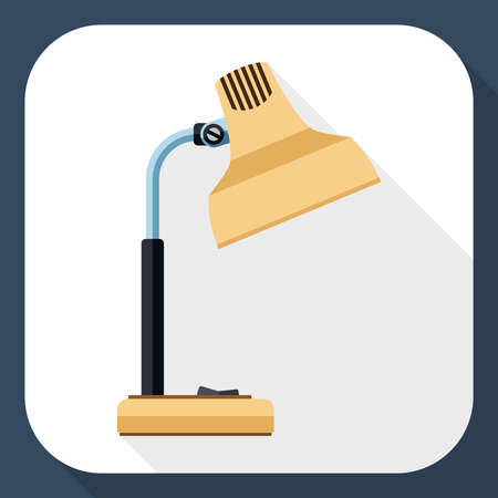 assignments: Table lamp icon with long long shadow Illustration