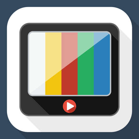 telecast: TV flat icon with long shadow