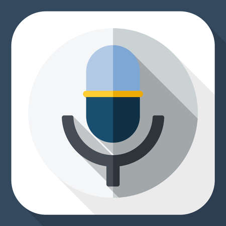 scenical: Vector microphone icon with long shadow Illustration