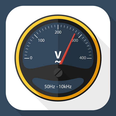 voltmeter: Voltmeter icon with long shadow