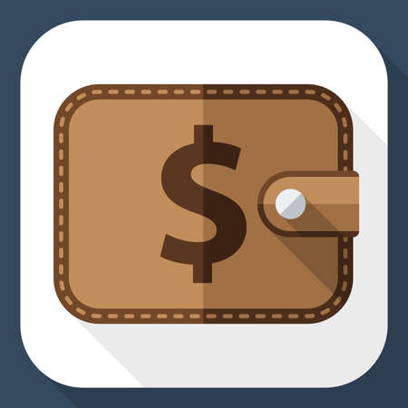 pocketbook: Wallet icon with long shadow