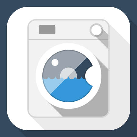 washing powder: Washing machine flat icon with long shadow