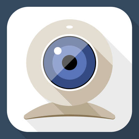web cam: Web camera flat icon with long shadow