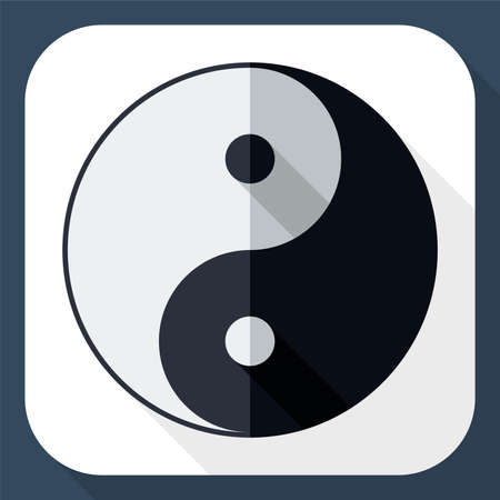 daoism: Yin and yang symbol with long shadow Illustration