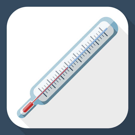 coldness: Thermometer flat icon with long shadow, vector