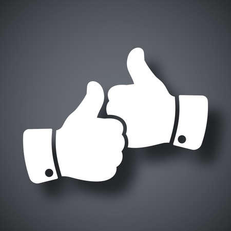 social network icon: Vector hands with thumbs up icon Illustration