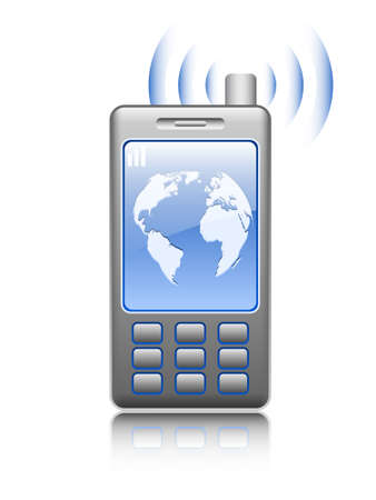 gps device: Illustrated mobile phone on white background, vector Illustration