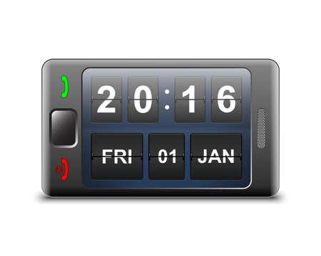 logo couleur: Vector smartphone avec bascule mill�sime clock screensaver