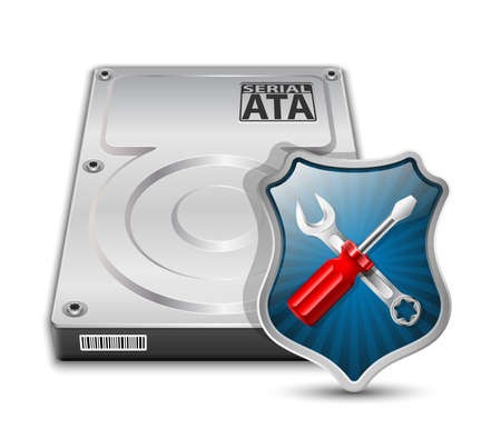 repair computer: HDD Repair Icon. Vector Illustration Illustration