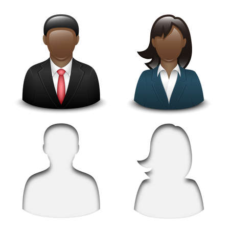 black male: Black male and female user icons. Vector Illustration