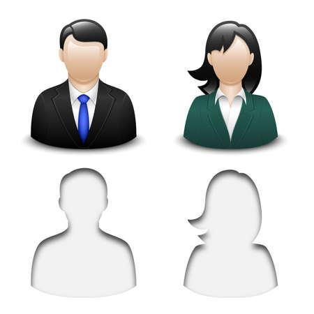 masculino: Iconos de usuario masculinos y femeninos. Vector
