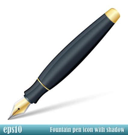 Vecteur Fountain Pen icône avec ombre transparente Banque d'images - 43048130