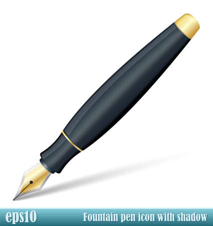 Vector Fountain Pen icon with transparent shadow Stok Fotoğraf - 43048130