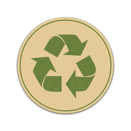 recycle waste: Paper recycle sticker isolated on white background