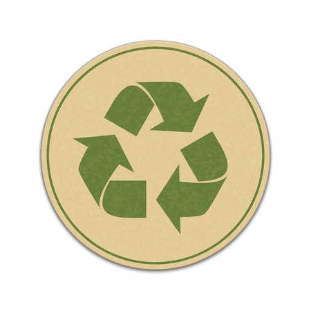 Papier recycle sticker geïsoleerd op een witte achtergrond Stockfoto - 43048141