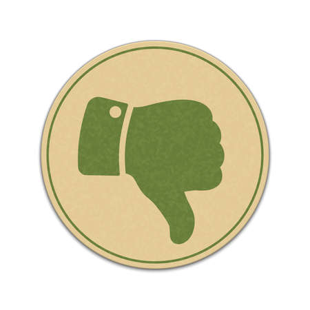 worse: Paper thumb down sticker isolated on white background