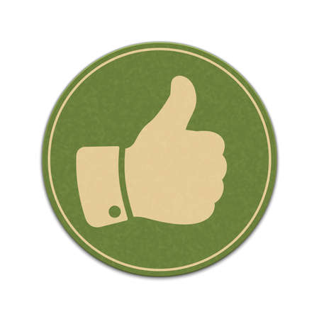 Paper thumb up sticker isolated on a white background