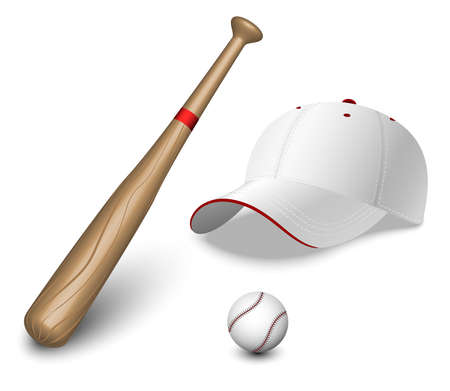 bat and ball: A set of a baseball bat, ball and caps