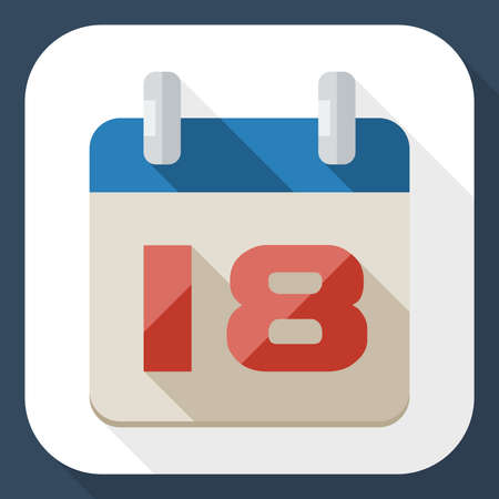 long shadow: Calendar icon with long shadow