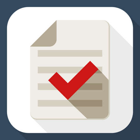 check mark icon: Document and check mark icon with long shadow