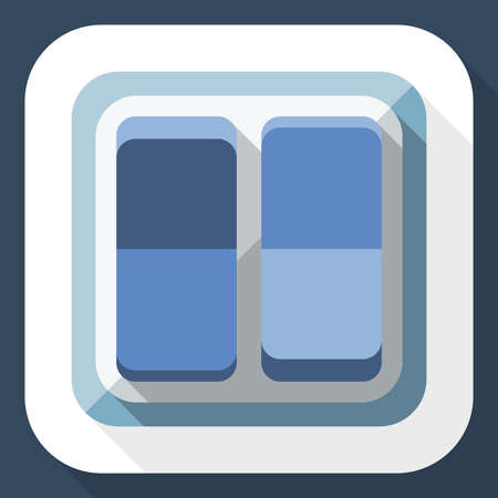 long shadow: Power switch icon with long shadow