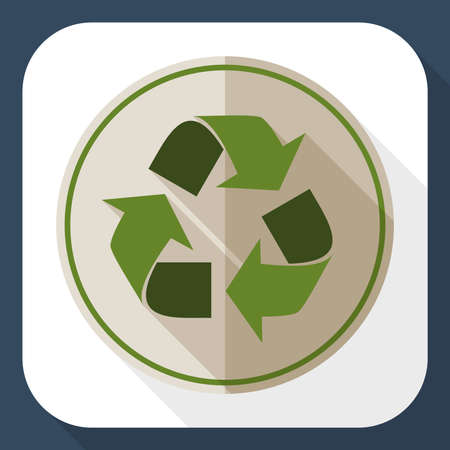 recycle icon: Recycle icon with long shadow Illustration