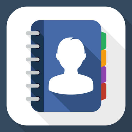 address book: Address book flat icon with long shadow Illustration