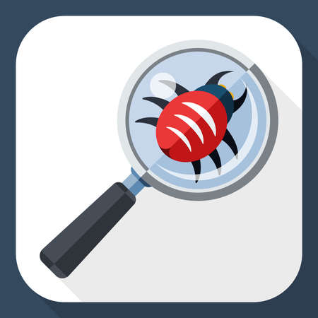 bugs: Antivirus scanning icon with long shadow
