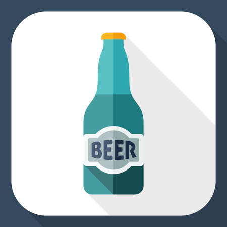 beer house: Beer bottle flat icon with long shadow