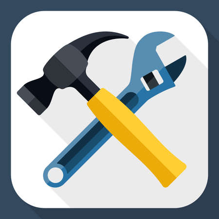 adjustable wrench: Hammer and wrench icon with long shadow