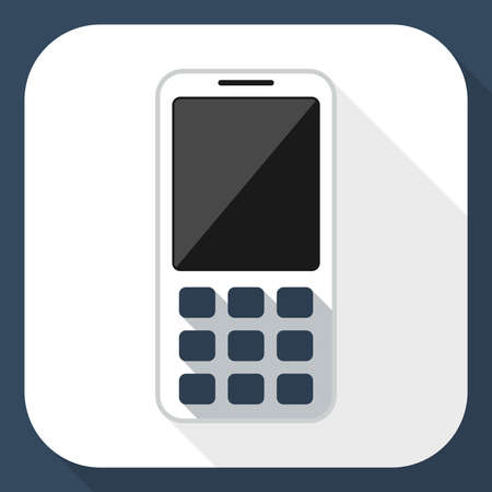 mms: Mobile phone flat icon with long shadow Illustration
