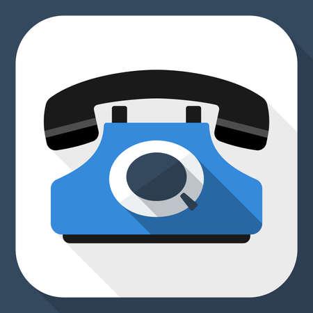 techology: Retro telephone flat icon with long shadow Illustration