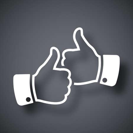 thumbs up icon: Las manos con los pulgares hacia arriba icono, vector Vectores