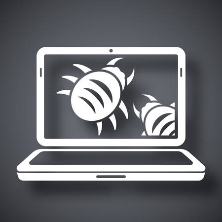 vulnerability: Laptop is infected by malware, vector illustration