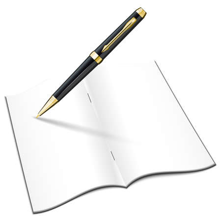 open notebook: Blank open notebook with classic pen. Vector illustration