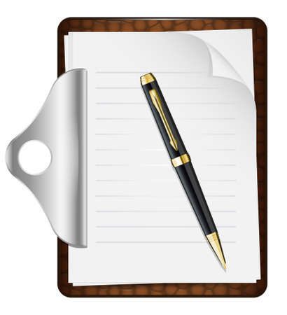 file clerk: Clipboard with an empty sheet of paper and pen. Vector illustration
