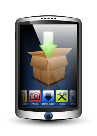 palmtop: Smartphone with menu and download icon on the big touch screen. Vector illustration
