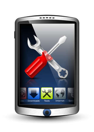gsm phone: Smartphone with menu and tools icon on the big touch screen. Vector illustration Illustration