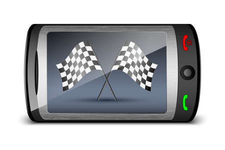 mms: Touch phone with checkered flags on the screen. Vector